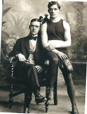 POSTCARD OF VINTAGE PHOTOGRAPH OF TWO MALE LOVERS A BOXER & A GENTLEMAN