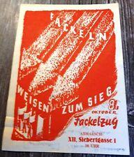 """SPÖ-Flugblättchen aus 1949: """"Fackeln weisen zum Sieg"""" - Fackelzug Wien XII"""