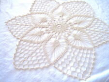 Ecru Colored Star Like with Pineapples Hand Crocheted Doily 18""