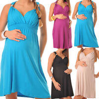 Women Pregnancy Maternity Summer Sexy Solid Halter V Neck Sleeveless Short Dress