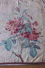 French Antique 19thC  Hand Blocked Rose Chintz Window Valance/Textile Fabric