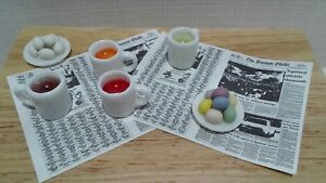 Dollhouse Miniature Dying Easter Eggs 4 cups w/ dye 2 dish eggs paper 1:12 scale