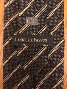 Daniel De Fasson Silk Tie Sevenfold Black Red & White Checkered Design