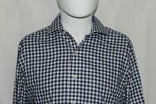 BROOKS BROTHERS Men's 15-32/33 Blue & White Gingham Check SLIM Non-Iron Shirt