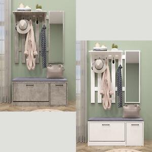 2 Farben Garderobenset Flurgarderobe Wandgarderobe mit Spiegel Schuhschrank