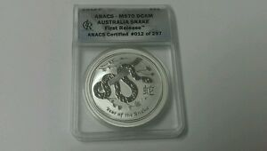 2013 Anac- Ms70 DCAM Australia Snake First Release Silver 1 oz