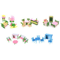 Dollhouse Simulation Miniature Wooden Furniture Toys Wood Furniture Sets Gift FT