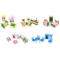 Dollhouse Simulation Miniature Wooden Furniture Toys Wood Furniture Sets Gift HU