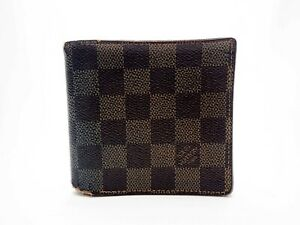 Authentic Louis Vuitton Damier Ebene Marco Bifold N61675 Browns Men's