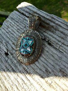Carolyn Pollack Relios Roderick Tenorio RMT Sterling Silver Turquoise Pendant so