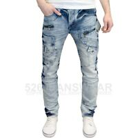 Eto Men's Designer Branded Tapered Fit Distressed Heavy Detailed Jeans, BNWT