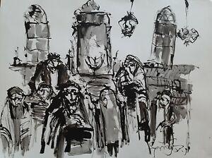 MOSHE BERNSTEIN (1920-2006), Huge Ink on Paper, Praying in The Synagogue, Signed