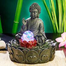 Beleuchteter Zimmerbrunnen Lotus-Buddha mit Glaskugel Zimmer-Brunnen Entspannung