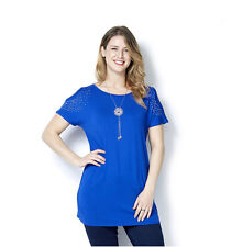 QVC 166390 Grace Size 20 Cold Shoulder Stud Detail Tunic & Slider Necklace BLUE