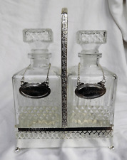 Tantalus - Two Decanter Tantalus with Silver Plated Frame and Bottle Tags