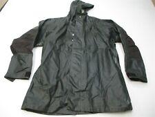 CABELA'S Rain Coat Men's Size L Waterproof PVC Button-Front Green Hooded