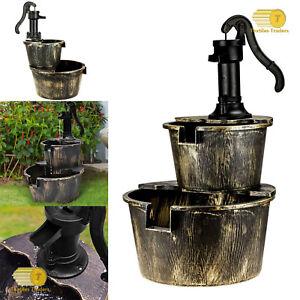2 Tier Garden Barrel Fountain Pump Water Feature Cascade Patio Garden Ornament