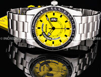 Invicta Men Specialty YELLOW Dial SILVER Bracelet TACHYMETER 45mm CLASSIC Watch