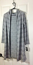 NWT Women's black-gray horizontal striped hooded duster cardigan-size XS