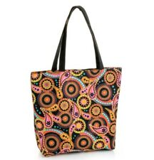 Womens Orange Paisley Pattern Tote Shopper Bag