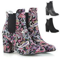 Womens Mid Heel Chelsea Boots Elastic Gusset Ladies Slip On Shoes Ankle Booties