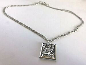 Buddha Relief image/Scroll Floral Pendant Lois Hill Double Chain Silver Torque