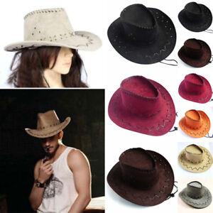 Vintage Men Women Wide Brim Cowboy Cowgirl Hat West Fancy Cap Headwear Decor