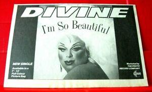 "Divine I'm So Beautiful Vintage ORIG 1984 Press/Magazine ADVERT 8.5""x 6"" Hi NRG"