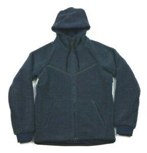 Nike Sportswear Tech Sherpa Fleece Navy Blue Full Zip Hoodie Jacket Small Mens