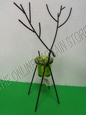 Christmas Holiday Black Metal Reindeer Votive Candle Holder Green Glass Large