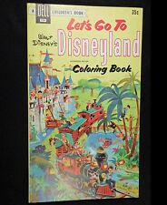 Walt Disney Lets Go To Disneyland Coloring Book Unused Mid-Century 1956 Dell