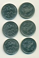 3 DIFFERENT 20 SEN COINS from MALAYSIA (2008, 2009 & 2010)