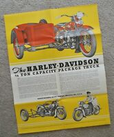 Antique Original 1936 Harley Brochure Poster VDS VLD VLH VHS RLD Package Truck