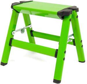 Aluminium 1 Step Up Stool Hop Fold Away Folding Lightweight Metal Ladder Kitchen