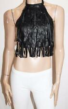 MISSGUIDED Brand Black Faux Leather Fringe Halter Top Size 8-XS BNWT #SQ49