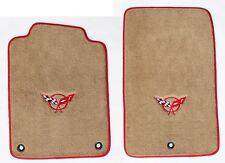 NEW! Tan Floor Mats 1998-2004 Corvette Embroidered Circle Emblem Logo Red Bindin