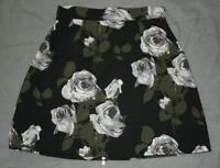 Missguided Women's Black Floral Back Zip Up Skirt Size 8 Good Used Condition