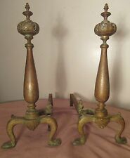 pair of two antique ornate brass bronze iron Victorian fireplace andirons set