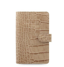 Filofax Classic Croc Compact Personal Size Organizer Taupe/Fawn Leather  026011