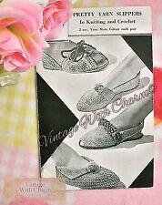 40s Knitting Pattern For Slippers & Mules, & Crochet Pattern For Slipper Sandals