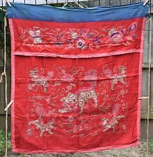"""Antique Chinese Hand Embroidered Fabric Textile Panel 32""""x 34"""""""