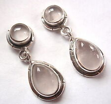 Rose Quartz Double Gem 925 Sterling Silver Stud Earrings w/ Grooved Accents