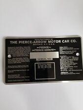 SERIAL TAG  - PIERCE ARROW MOTOR CAR