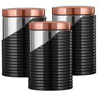 Tower T826001RB Linear Canisters Set of 3 Tea Coffee Sugar Black and Rose Gold