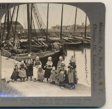 Dutch Children in Native Costume Fishing Boats Holland Keystone Stereoview c1900
