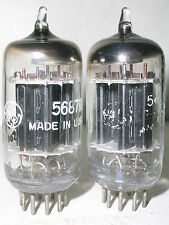 matched pair GE 5687 WA audio tubes black plates Hickok 539B tested