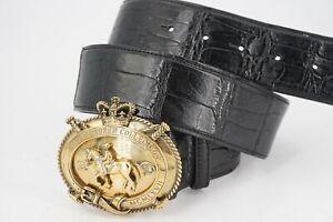 MINT | $1250 RALPH LAUREN PURPLE LABEL ALLIGATOR BLACK BELT M 34 BRASS BUCKLE