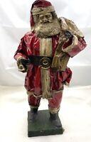 "Vintage Christmas Paper Mache Santa Claus Figurine  14.5"" Tall Rare Antique"