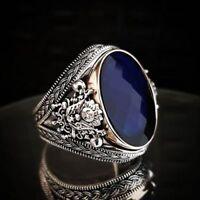AAA QUALITÉ Bague Chevalière Argent massif 925 Sterling Serti Ceylan Bleu Saphir