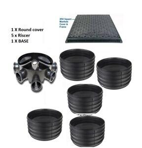 Amazon Civils 450mm Inspection Chamber Manhole  Base, 5 Riser, SQ Cover & Frame